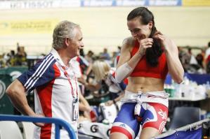 Dr. Stephen Peters, pictured with Olympic Champion Victoria Pendleton.  Dr. Peters Chimp Philosophy was key to helping several members of the British team to stay calm under the intense pressure of competition and adversity.