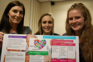 Picture of students exhibithing their Coaching Innovation Project, Heart of the Community