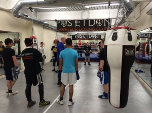 Stu addresses his recreational boxers at their home base at the Ageas Bowl.